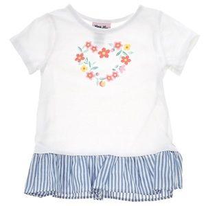 Little Lass Matching Sets - Little Lass Floral Heart Denim Jacket, Top & Pants